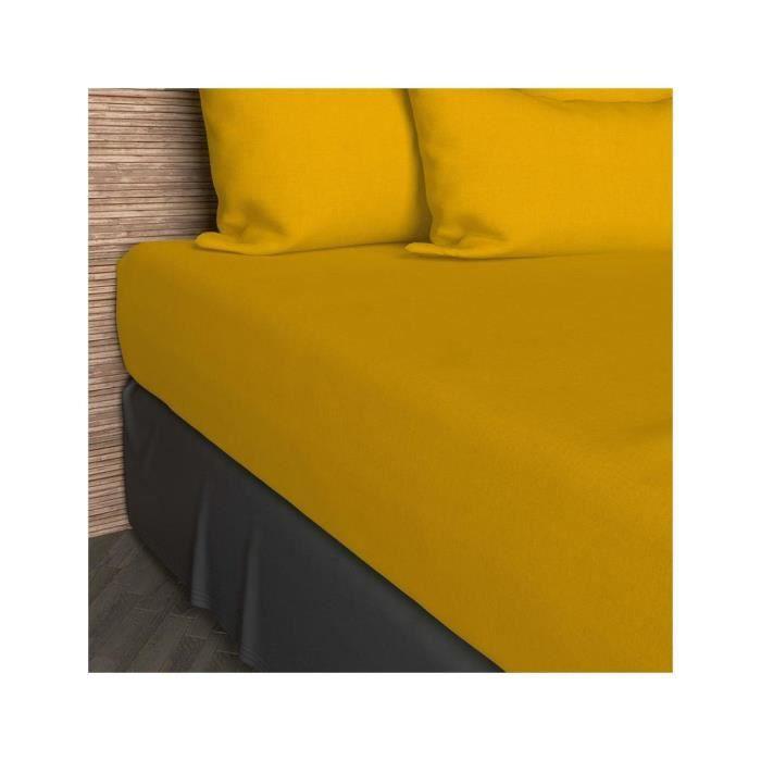 drap housse uni jersey 140x190 cm jaune 100 coton achat vente drap housse cdiscount. Black Bedroom Furniture Sets. Home Design Ideas
