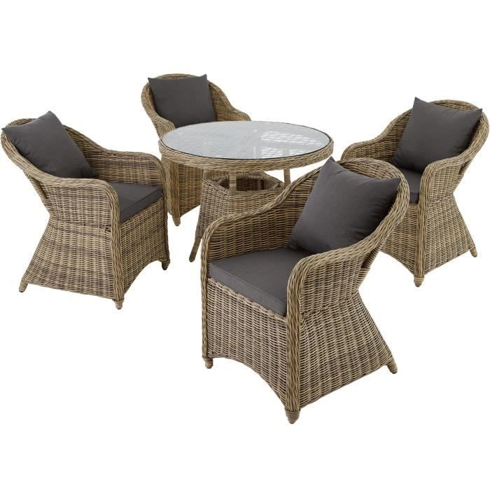 Salon de jardin agathe 4 chaises fauteuils 1 table ronde r sine tress e po - Table ronde en resine tressee ...