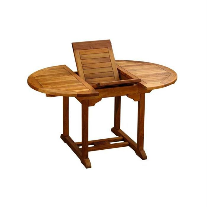 Table ronde rallonge en teck huil 100 140 cm achat for Table ronde 100 cm