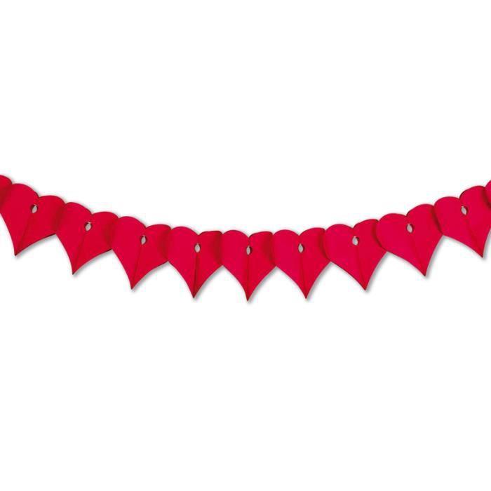Guirlande coeurs rouge en papier ignifugé de 3 m de long. Fabrication ...
