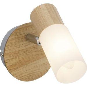 Applique spot ? 1 lumi?re Babsan E14 40W bois clair et blanc