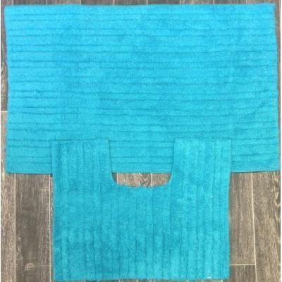 Tapis de salle de bain et toilette turquoise achat for Salle de bain noir et turquoise
