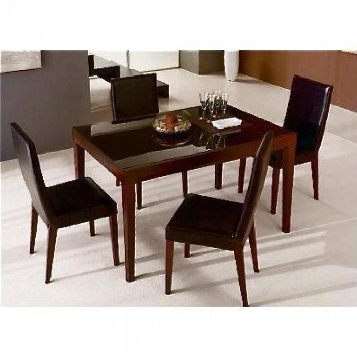 Fly bois wengue plateau verre marron table rep achat vente table a manger seule fly bois - Table salle a manger en verre fly ...