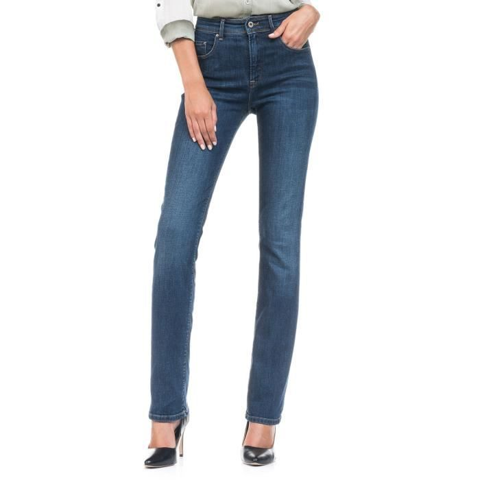 Jeans carrie taille haute coupe droite bleu achat - Jeans femme taille haute coupe droite ...