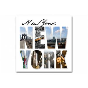 Tableau New York Lettres panorama 50x50 cm