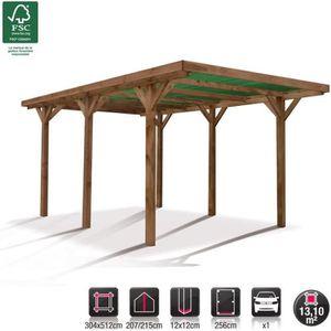 CARPORT Carport bois traité marron 15,56m²