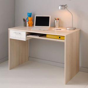 Bureau en bois avec tiroir et tablette coulissante, H 75 x L 108 x P