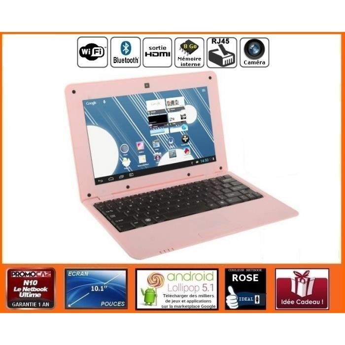 netbook rose android hdmi cran 10 1 pouces wifi sdhc. Black Bedroom Furniture Sets. Home Design Ideas