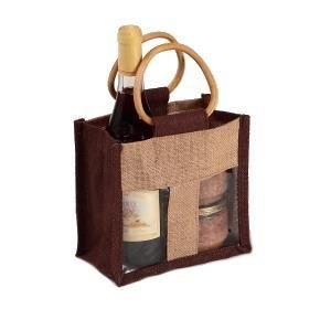 sac en toile de jute marron et naturel fen 234 tre pvc transparente 2 compartiments poign 233 es en