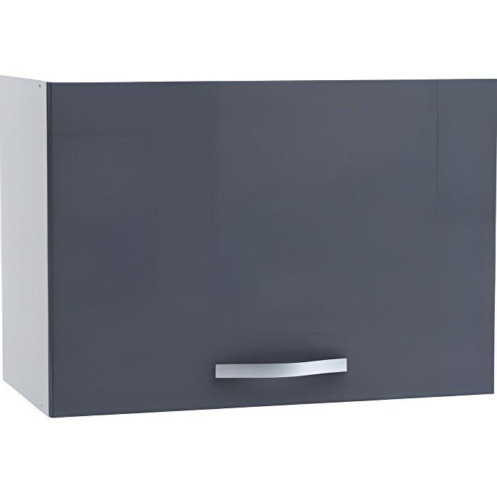 Meuble sur hotte 1 abattant coloris gris bril achat for Hotte integree dans meuble haut