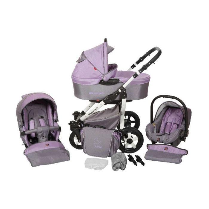 poussette trio 3 en 1 grander white grey violet blanc achat vente poussette 4100201800051. Black Bedroom Furniture Sets. Home Design Ideas