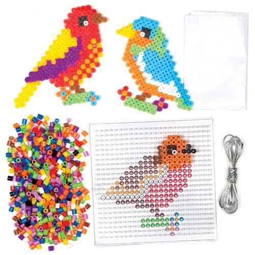 Kits d 39 oiseaux en perles repasser que les enfants pourront fabriquer d corer et exposer pour - Perles a coller fer a repasser ...
