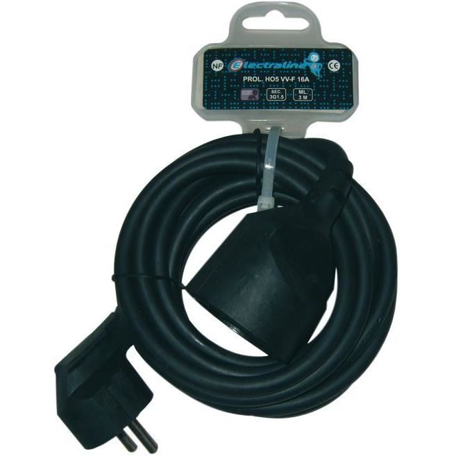 Prolongateur domestique ho5vvf 3x1 5 mm 3 m achat vente multiprise cdiscount - Rallonge electrique 1m ...
