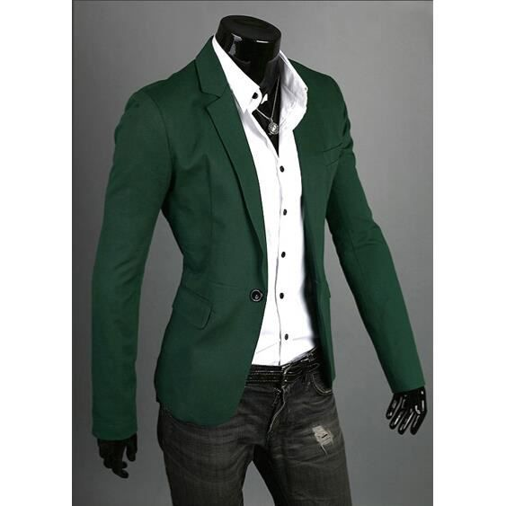 surprise homme printemp slim fit un bouton blazer costume homme 5 taille couleur verte vert. Black Bedroom Furniture Sets. Home Design Ideas