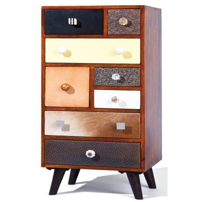 commode de rangement avec 8 tiroirs coloris multicolore. Black Bedroom Furniture Sets. Home Design Ideas