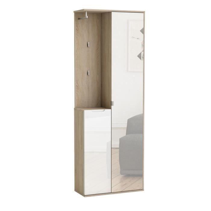 richelieu vestiaire 68cm d cor ch ne bross et blanc brillant achat vente meuble d 39 entr e. Black Bedroom Furniture Sets. Home Design Ideas