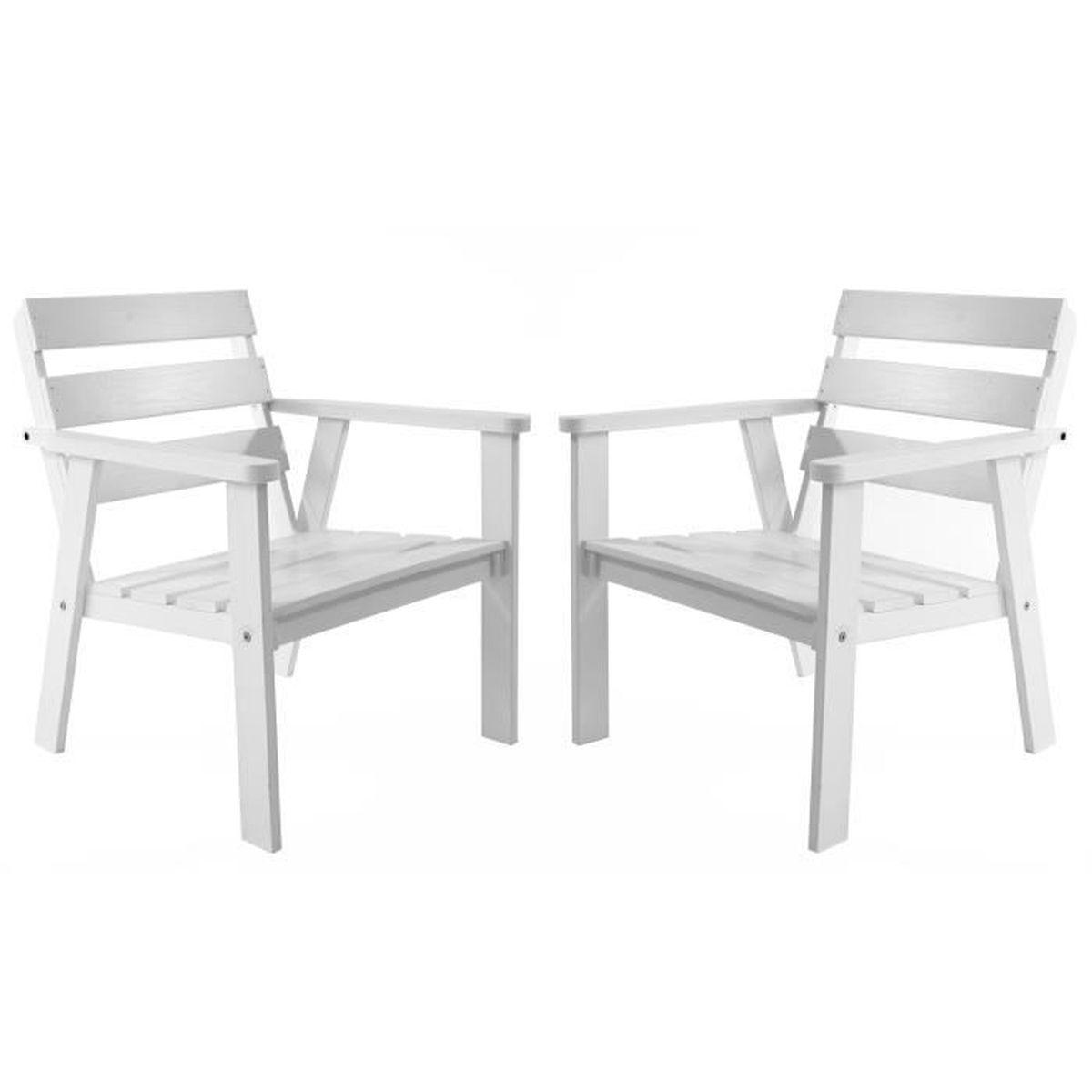 lot de 2 chaises de jardin ou terrasse hanko bois pin massif ton blanc achat vente. Black Bedroom Furniture Sets. Home Design Ideas