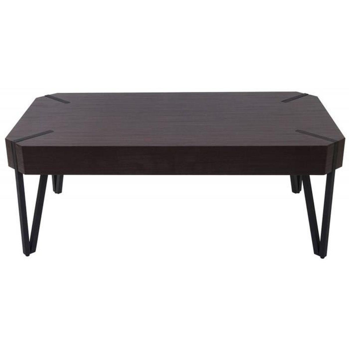 Table Basse Coloris Weng Avec Pieds En M Tal Noir Dim