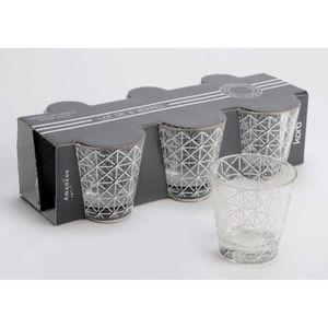 PICHET - CARAFE  Coffret 6 verres motif carreaux blancs