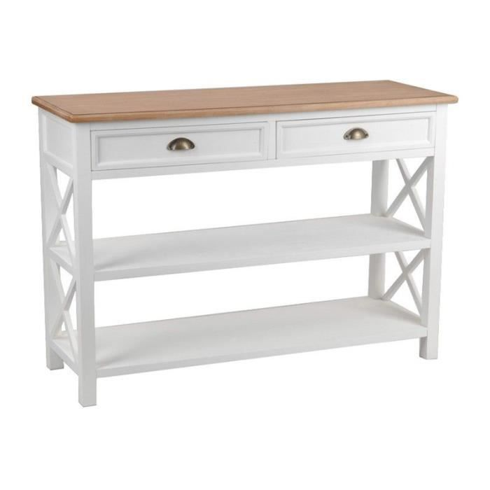 Console Blanche 2 Tiroirs Achat Vente Console Console