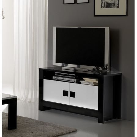 meuble tv pisa noir et blanc achat vente meuble tv. Black Bedroom Furniture Sets. Home Design Ideas
