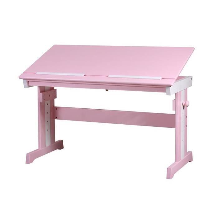 Bureau enfants en bois de pin massif blanc rose - Bureau enfant pin massif ...