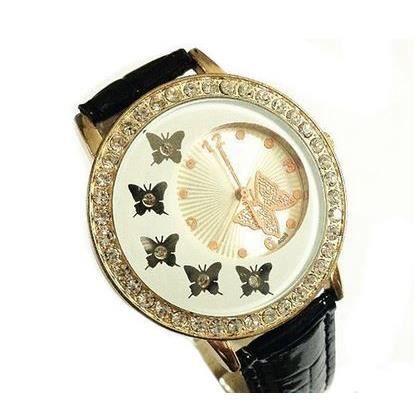 montre papillon bracelet noir et strass achat vente montre cdiscount. Black Bedroom Furniture Sets. Home Design Ideas