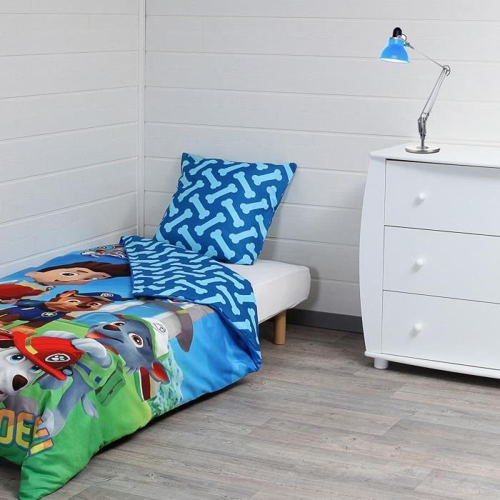 pat patrouille parure de couette 1 housse de couette 140x200 cm 1 taie d 39 oreiller 60x70 cm. Black Bedroom Furniture Sets. Home Design Ideas