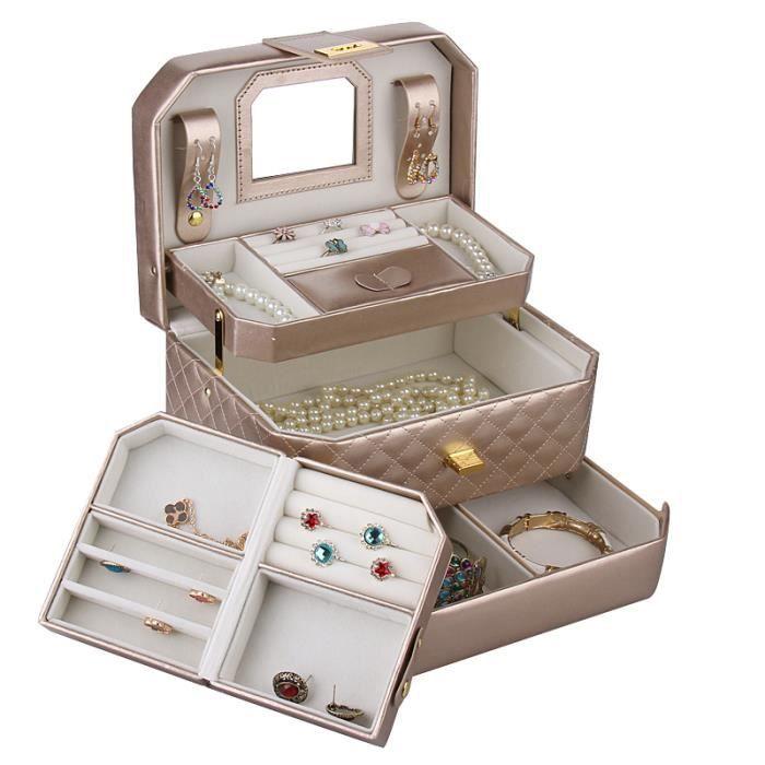 bo te bijoux or avec petite mallette bo te bijoux de voyage avec miroir zg223gold achat. Black Bedroom Furniture Sets. Home Design Ideas