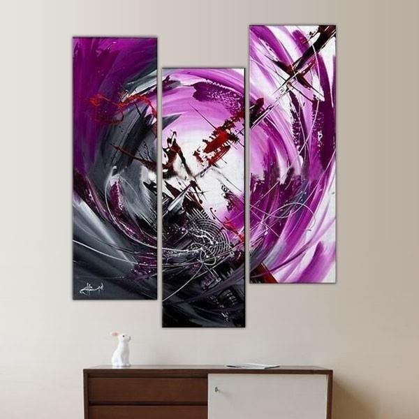Tryptique avec focale et illustration tableaux peinture violet triptyque triptique for Peinture gris violet