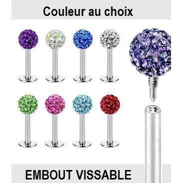 piercing labret bleu aqua shamballa cristal boule vissable achat vente labret piercing. Black Bedroom Furniture Sets. Home Design Ideas