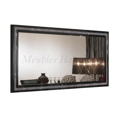 Miroir 190cm design laqu noir prestige achat vente for Miroir design noir