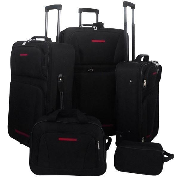 set de 5 valises de voyage noir noir achat vente set de valises 2009989841053 soldes. Black Bedroom Furniture Sets. Home Design Ideas