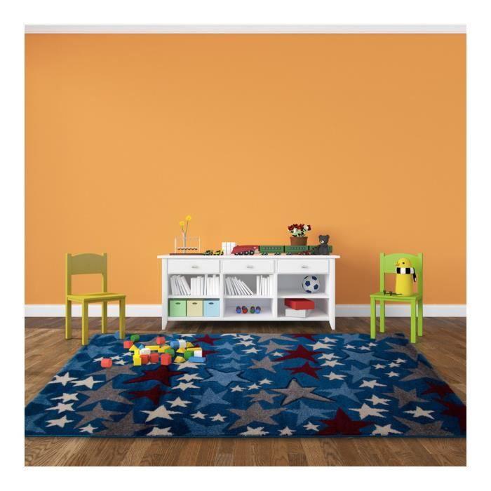 Tapis pour chambre d 39 enfant bleu starlight achat vente tapis cdiscount for Chambre mansardee bleu 2
