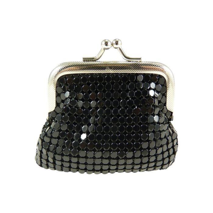 Porte monnaie bourse femme fermoir clic clac motif strass noir noir ach - Clic clac petite taille ...