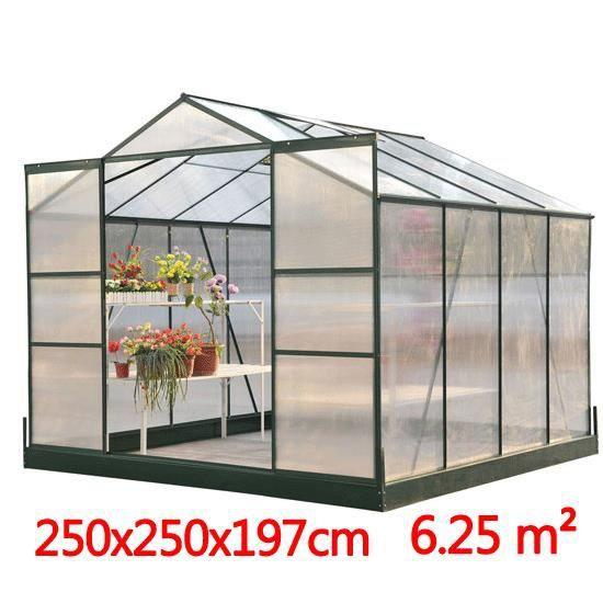 Serre de jardin en aluminium 250x250x197cm6 25 m achat - Vente de serre de jardin ...