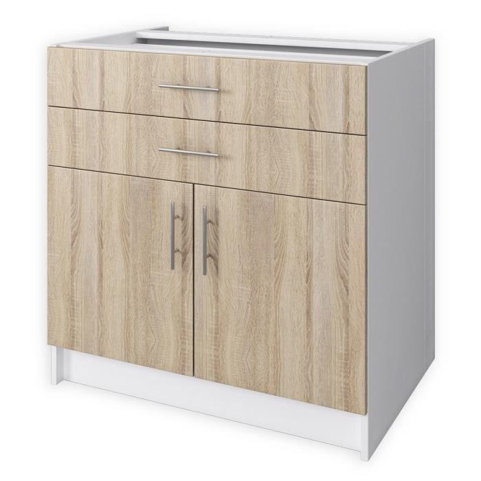 Obi meuble bas de cuisine l 80 cm d cor ch ne clair for Meuble cuisine element bas