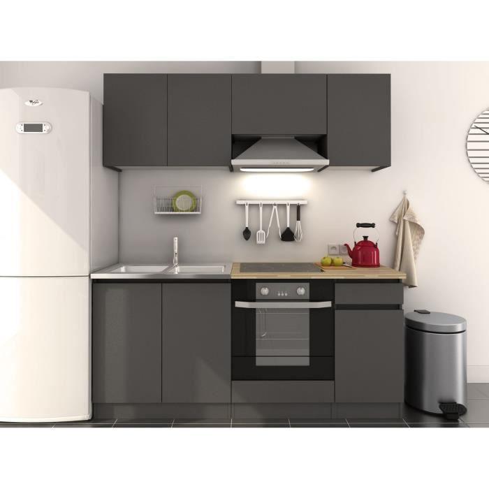 pure cuisine compl te 180 cm mat gris achat vente cuisine compl te pure cuisine compl te 180. Black Bedroom Furniture Sets. Home Design Ideas