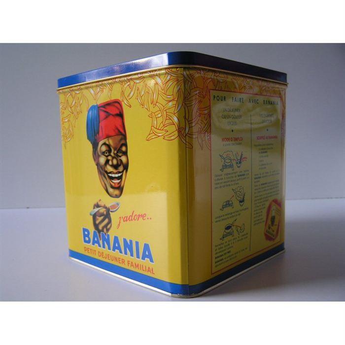 boite metal carre decorative pub banania j 39 adore achat vente boites de conservation boite. Black Bedroom Furniture Sets. Home Design Ideas