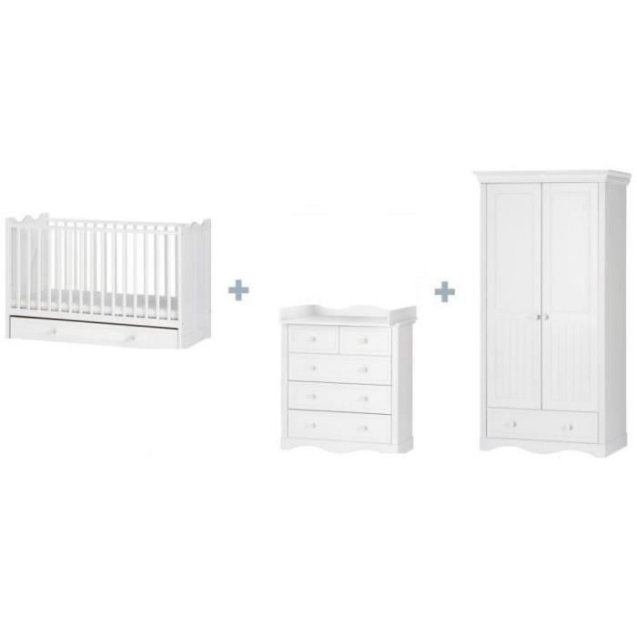 Pack lit bebe 710x140 table a langer alice avec armoire for Armoire table a langer