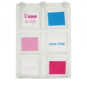 panneau de rangement 6 poches sdb ventouse achat vente porte accessoire cdiscount. Black Bedroom Furniture Sets. Home Design Ideas