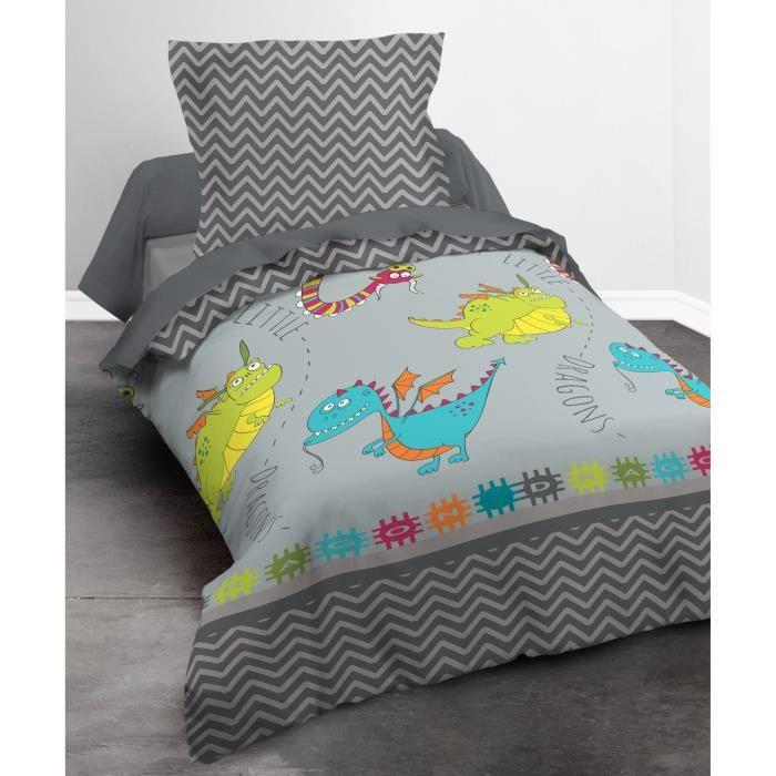 today happy parure de couette dragons 100 coton 1 housse de couette 140x200cm 1 taie. Black Bedroom Furniture Sets. Home Design Ideas