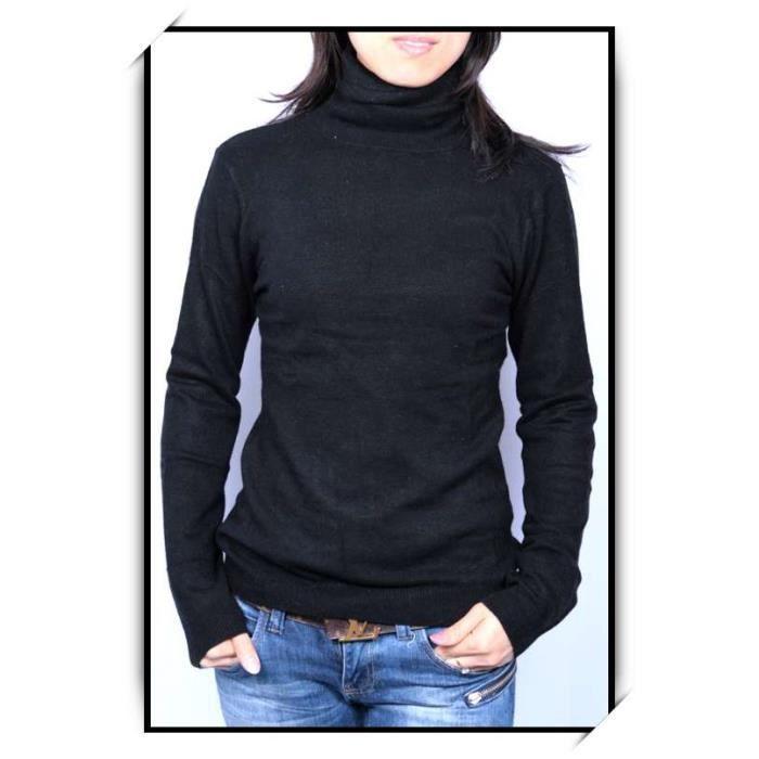 pull femme cachemire laine col roule noir noir achat vente pull cdiscount. Black Bedroom Furniture Sets. Home Design Ideas