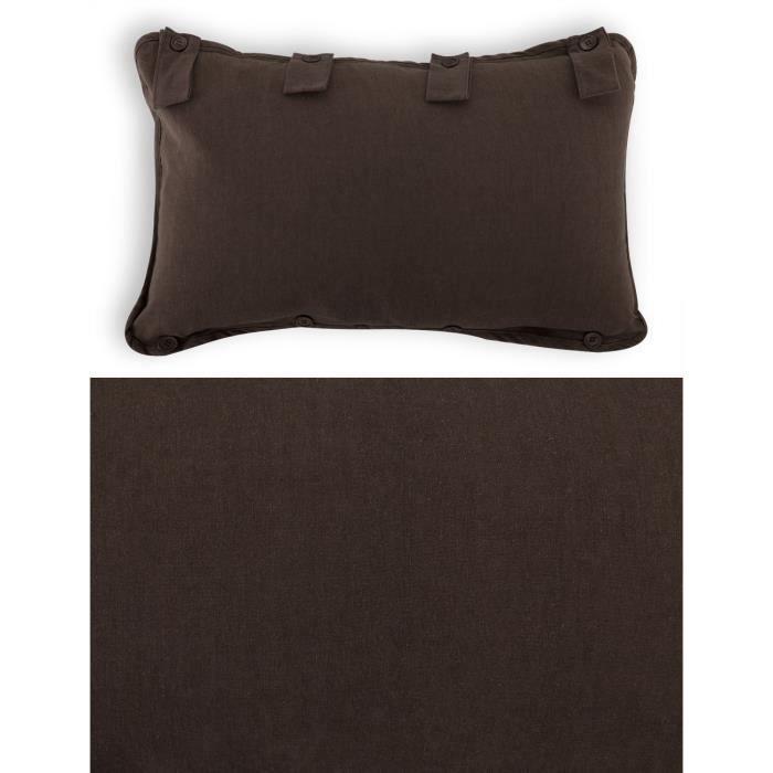 coussin tete de lit classique polycoton 66 x 41 cm chocolat achat vente coussin cdiscount. Black Bedroom Furniture Sets. Home Design Ideas