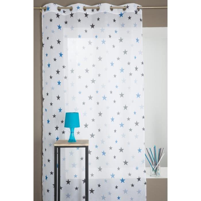 voilage chambre enfant motif etoile bleu 140 x 280 cm achat vente voilage les soldes sur. Black Bedroom Furniture Sets. Home Design Ideas