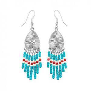 BOITE A BIJOUX Boucles d'oreilles Verre-Rocaille Turquoise Navajo
