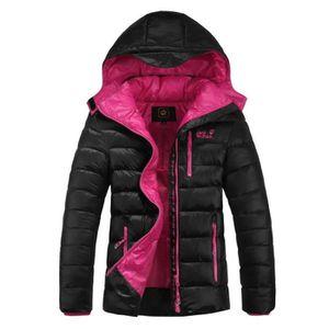 MANTEAU - CABAN Manteau d'hiver court à capuche femme Noir