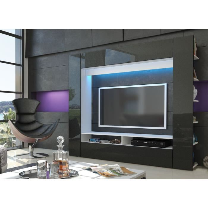 meuble tv mural blanc et noir m tallique achat vente. Black Bedroom Furniture Sets. Home Design Ideas