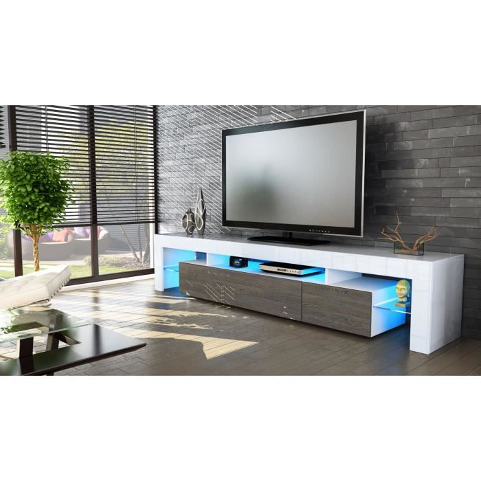 Meuble TV blanc et bois wengé 189cm - Achat / Vente meuble tv Meuble ...