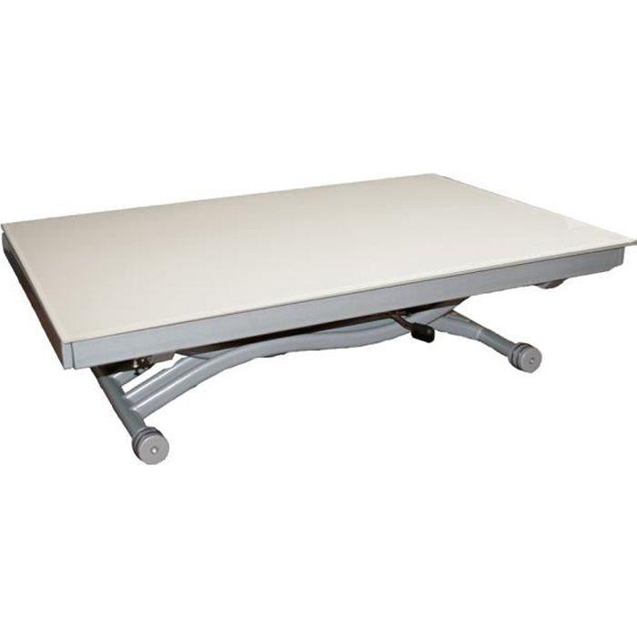 Table basse relevable zen plateau en verre blanc achat - Table basse relevable cdiscount ...